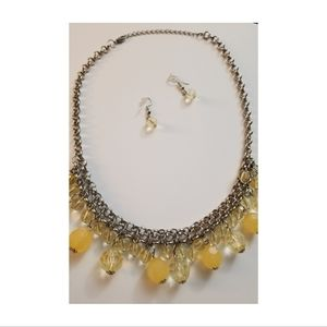 Pale Yellow Short Beaded Necklace and Earring
